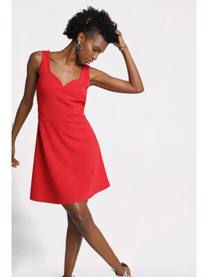 Robe patineuse decollete coeur rouge femme