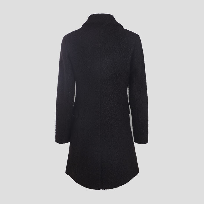 Manteau évasé boutonné noir femme