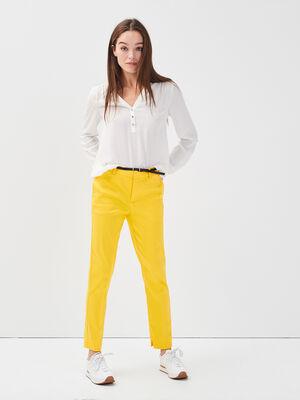 Pantalon 78eme a ceinture jaune citron femme