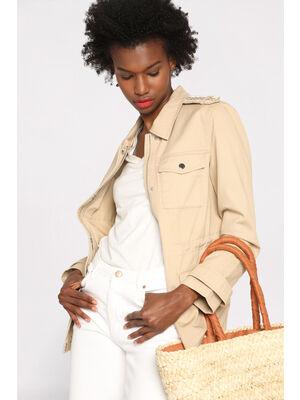 Veste droite avec poches beige femme