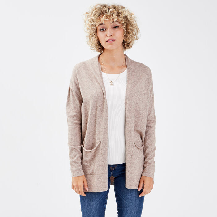 Gilet manches longues taupe femme