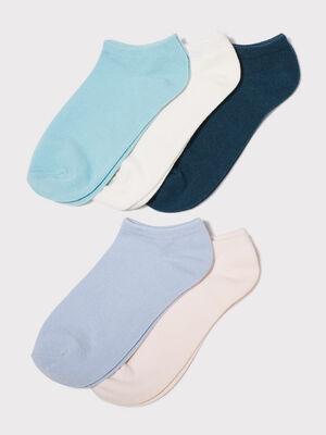 Lot de 5 paires chaussettes unies bleu turquoise femme
