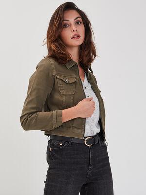Veste droite courte zippee vert kaki femme