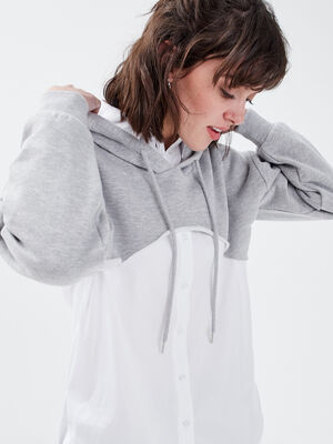 Sweat crop top a capuche gris clair femme