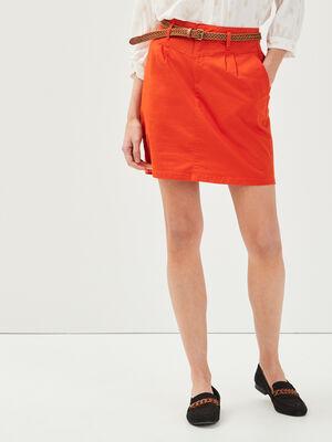 Jupe droite ceinturee orange femme