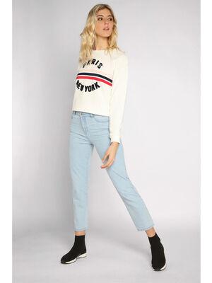 Jeans loose taille standard denim bleach femme