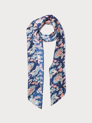 Foulard plisse bleu marine femme
