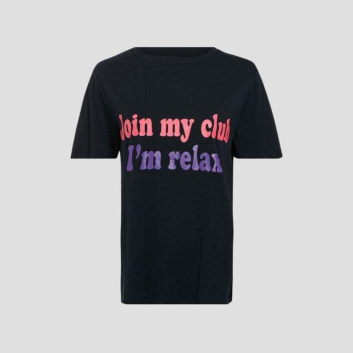 T-shirt large à message marron foncé femme