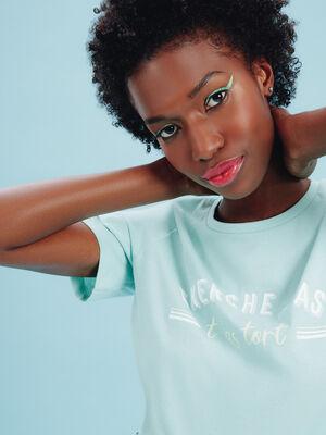 T shirt manches courtes vert clair femme