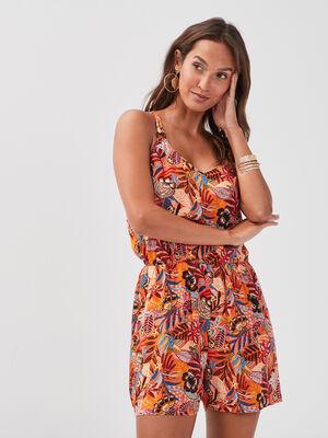 Combishort avec bretelles orange femme