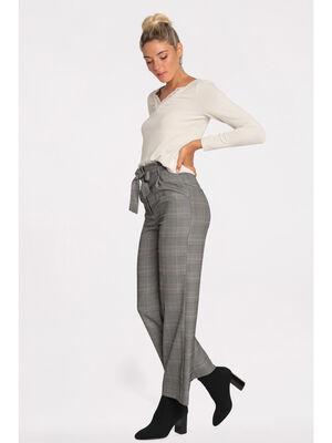 Pantalon paperbag a ceinture noir femme