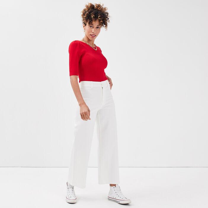 Jeans wide leg taille haute ecru femme