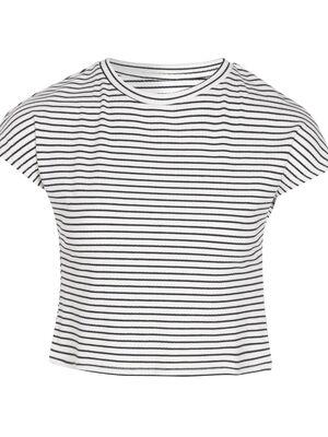 T shirt manches courtes crop bleu marine femme