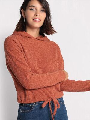 T shirt manches longues marron femme