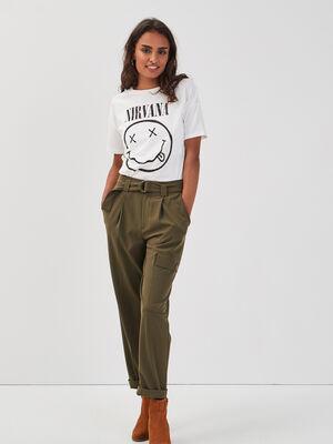Pantalon droit ceinture vert kaki femme