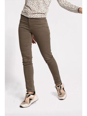 Pantalon slim effet push up vert kaki femme