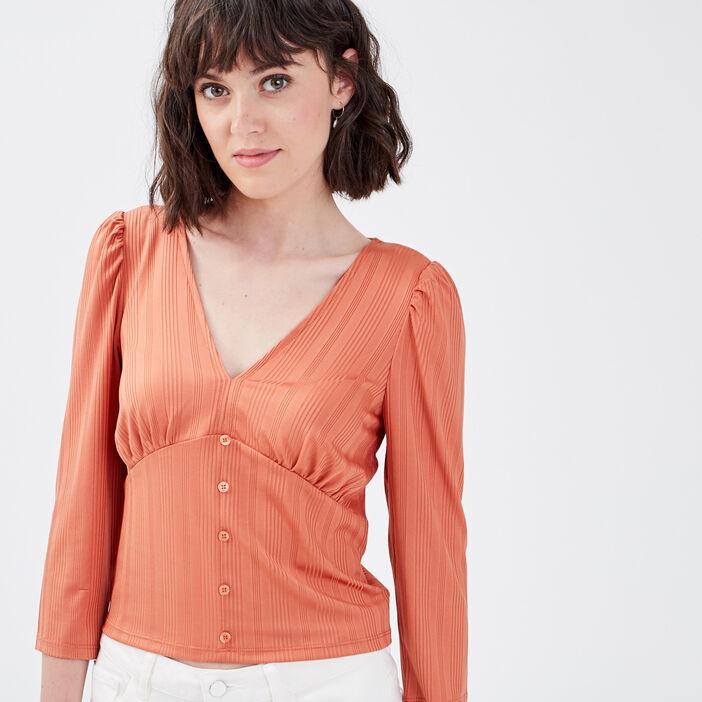 T-shirt manches 3/4 terracotta femme