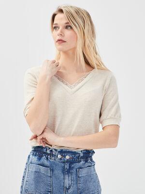 T shirt manches courtes ivoire femme