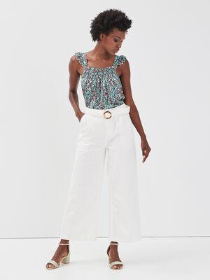 Pantalon large ceinture ecru femme