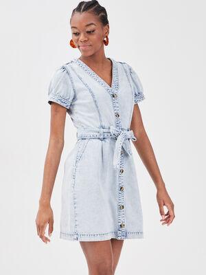 Robe evasee ceinturee en jean denim bleach femme