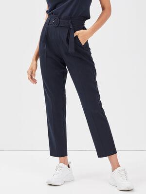 Pantalon paperbag boucle ronde bleu marine femme