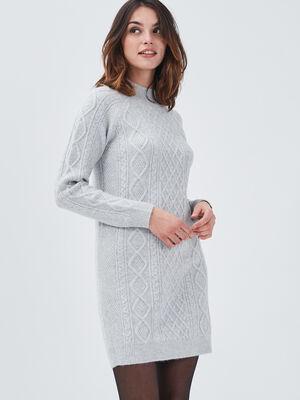 Robe pull droite avec torsades gris clair femme