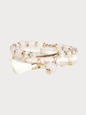 Lot 4 bracelets a perles ecru femme