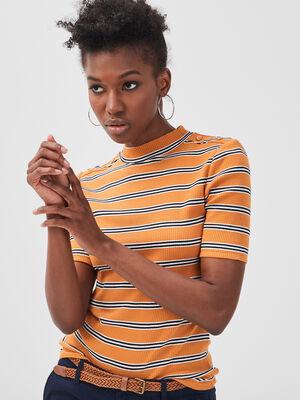 T shirt manches courtes cotele jaune femme