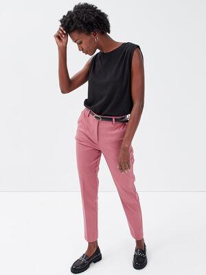 Pantalon cigarette ceinture vieux rose femme