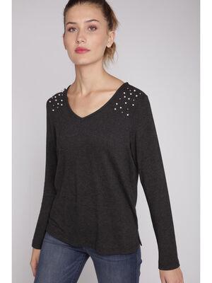 T shirt manches longues avec perles gris fonce femme
