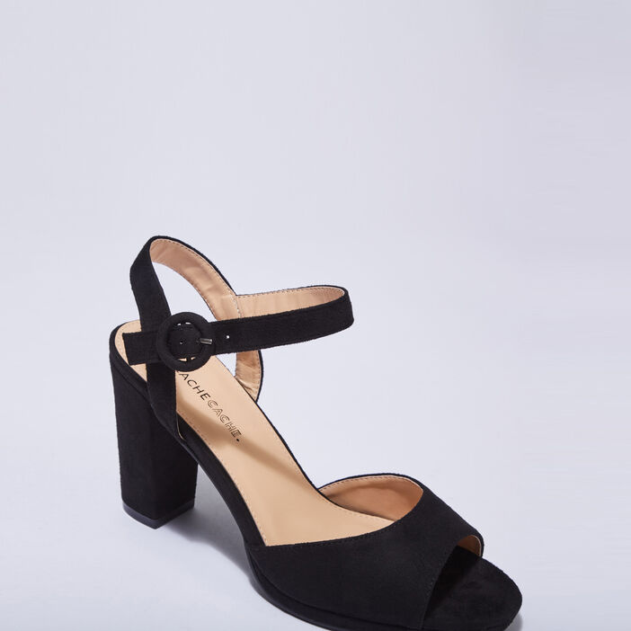 Sandales à talons noir femme