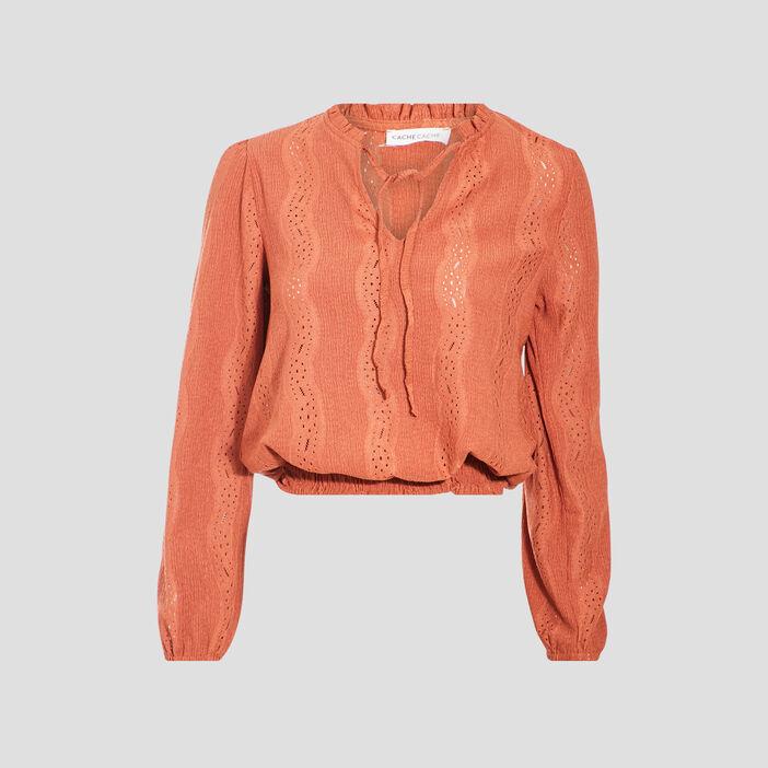 T-shirt manches longues smocké marron cognac femme