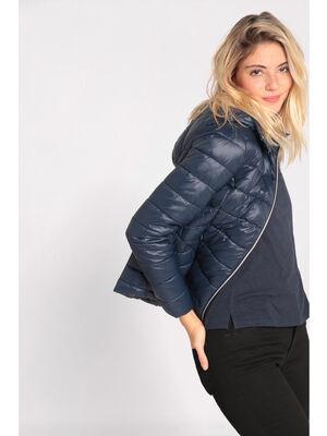 Doudoune cintree courte zippee bleu marine femme