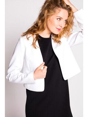 Veste courte crepe unie blanc femme