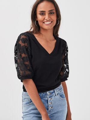 T shirt manches 34 noir femme
