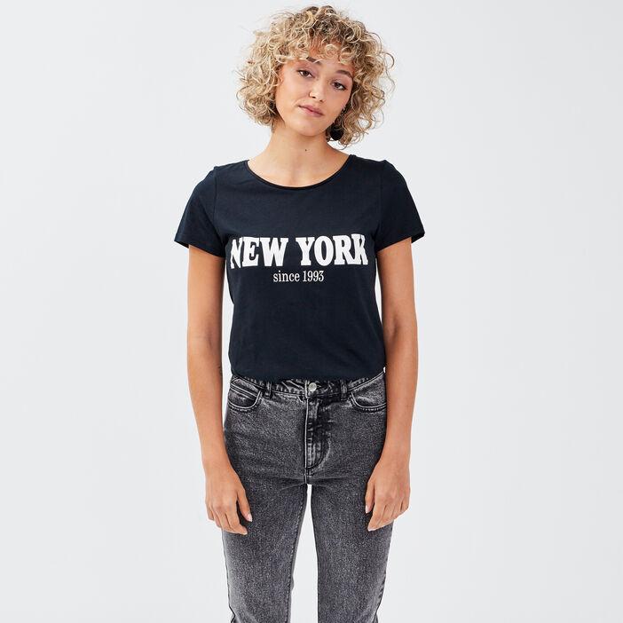 T-shirt ajusté à message noir femme
