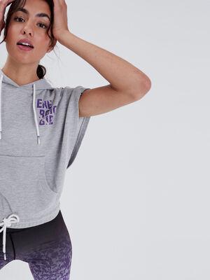 Sweat sans manches a capuche gris clair femme