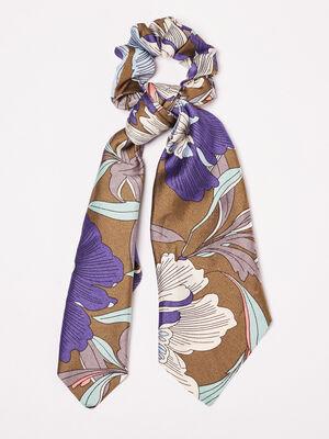Chouchou avec noeud bleu roi femme