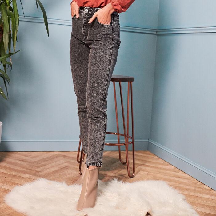 Jeans slim taille haute denim snow gris femme