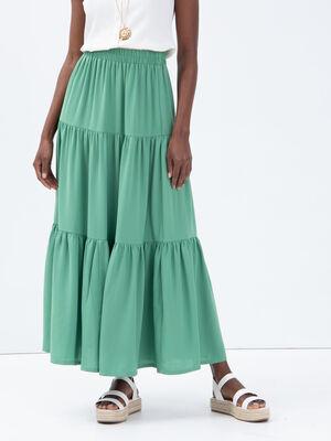 Jupe longue evasee vert clair femme