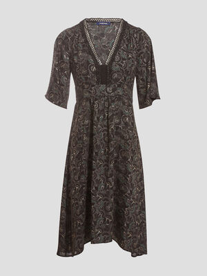 Robe longue evasee asymetique noir femme