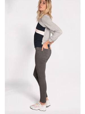 Pantalon slim5 poches gris fonce femme