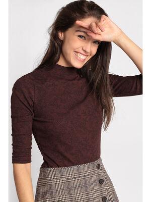 T shirt manches 34 cotele bordeaux femme