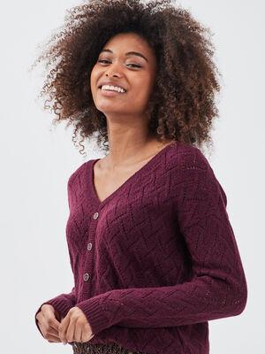 Pull dos en V avec boutons violet fonce femme