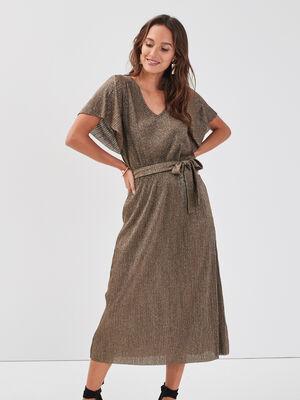 Robe longue evasee ceinturee vert olive femme