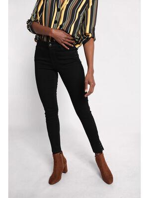 Pantalon slim details cloutes denim noir femme