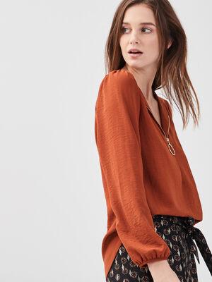 Blouse manches longues zippee marron cognac femme