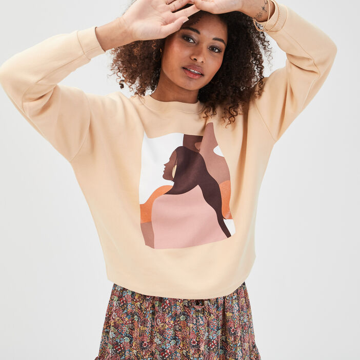 Sweat col rond sable femme