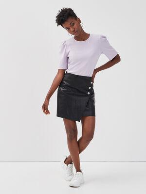 Jupe droite similicuir noir femme