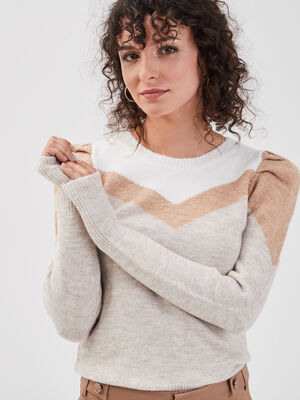 Pull epaules froncees sable femme